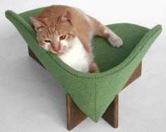 Modern cat bed in sage bouclé upholstery by likekittysville on etsy.