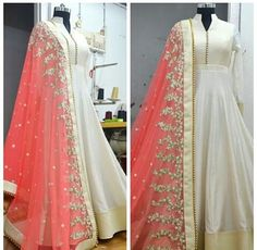 Beautiful white anarkali with peach dupatta