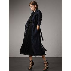 Macramé Lace Trench Coat in Navy - Women | Burberry United States