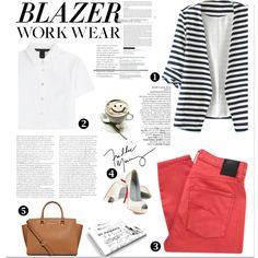 Work Wear: Blazer stripes by nicole77af on Polyvore featuring Marc by Marc Jacobs, Nobody Denim, MICHAEL Michael Kors, Christian Louboutin and Avenue