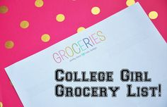 "College Girl Grocery List How many of you beautiful ladies are in college? Ever heard of the Freshmen 15? You can totally beat it! Staying fit in college can be rough because there is so much going on that you just put it on the back burner, and college food isn't the most nutritious! Here is a ""college girl grocery lis...  Read More at http://www.chelseacrockett.com/wp/beauty/college-girl-grocery-list/.  Tags: #College, #CollegeGirlGroceryList, #Food, #Grocery, #Mea"