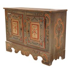 Painted German Folk Low Sideboard | From a unique collection of antique and modern commodes and chests of drawers at https://www.1stdibs.com/furniture/storage-case-pieces/commodes-chests-of-drawers/