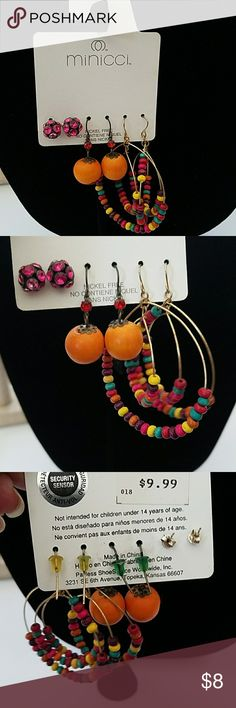 Minicci Earrings Beautiful set of minicci earrings. Never used. Perfect for spring and summer. Jewelry Earrings