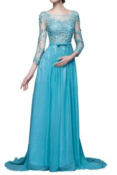 Ivydressing Lace V-Back Long Sleeve Maxi Prom Gowns Party Evening Dresses-26W-Blue. Built-in bra, fully lined. Swwep train; Dry clean only. After you order the dress, we will email to your Amazon account for detailed measurements. Please prepare and reply it ASAP. How to measure? Please check the left image. If there is any requirement like COLORS and URGENT SERVICE, please don't hesitate to contact us. It's our pleasure to tailor a beautiful and comfortable dress for you. Note: All…