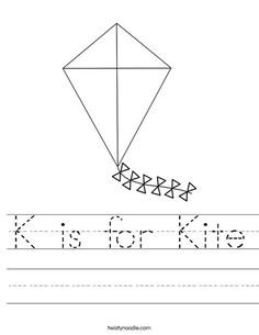 K is for Kite Worksheet from TwistyNoodle.com