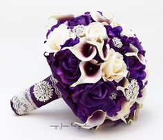 Bridal Bouquet Callas Purple Lavender Ivory Roses Rhinestones Hydrangea & Groom's Boutonniere