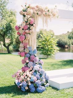 Lilac Pink Iridescent Modern Wedding Wedding Mandap, Wedding Ceremony, Our Wedding, Dream Wedding, Pink Blue Weddings, Lilac Wedding Colors, Spring Wedding Invitations, Wedding Decorations, Hydrangea Wedding Centerpieces