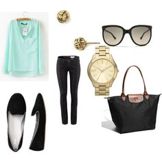Mint Blouse Casual --- I need silver jewelry, but otherwise this is a great look for me.