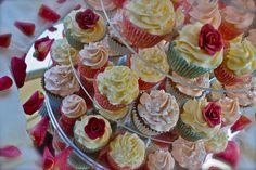Vintage Pearl & Red Rose Wedding Cupcakes, via Flickr.