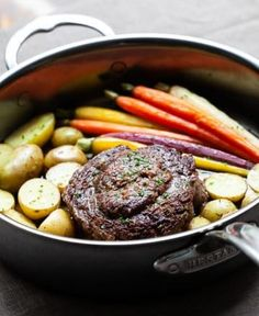 Ribeye Cap Steak - one pan dinner for two One Pan Dinner, Dinner For Two, Dinner Ideas, Steak Recipes, Shrimp Recipes, Ribeye Cap Steak, Steaks, Steak Temperature, Roasted Potatoes And Carrots