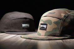elm x thrasher mag 5 panel hats.  mm that camo