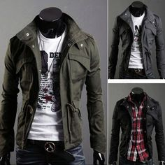 New Men's Military Slim Line Jacket Coat Rider Zip Button Hoody Black Grey Green | eBay