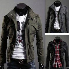 New Men's Military Slim Line Jacket Coat Rider Zip Button Hoody Black Grey Green   eBay