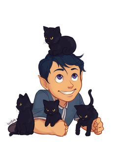 Behold! The Prince of Darkness! Ruler of the Night! Because of this post regarding baby Rhys and black cats ;) This was so much fun to draw! I had to figure out how to draw cats, but other than that...