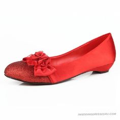 Most Comfortable Red Flat Low Heeled Shoes Dress IWD1502 Timeless For Women In 2013