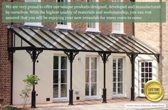 Handmade in Britain, our quality, traditional style bespoke verandas, porches pergolas and canopies bring a new dynamic and aesthetic to your property. Coastal Cottage, Cottage Homes, Eisen Pergola, Pavillion, Door Canopy, Marquise, Outdoor Living, Outdoor Decor, Pergola Designs