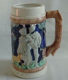 Vintage-Pottery-Porc-Beer-Stein-Mug-Lady-Man-Hunting-Dog-With-Rabbit-in-Mouth