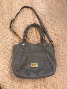 MARC by MARC JACOBS Classic Q Hillier Leather Hobo Bag Grey Authentic EC