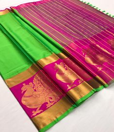 Fabric : Cotton Silk Color : Green, Pink Length – 5.50 Meter & 0.8 Meter Blouse Package Content : 1 Saree With 1 Blouse Piece Work : Weaving Product color may slightly vary due to photographic lighting sources or your monitor settings. Wash Care : DRY CLEAN ONLY International shipping is available Contact us / whats app us : +91 9725728989