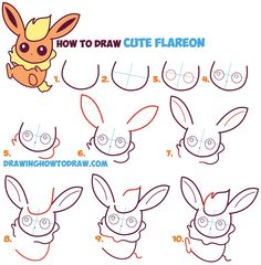 How to Draw Flareon in Cute / Kawaii / Chibi / Baby Style - Easy Step by Step Drawing Lesson for Kids