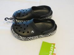 dfaf13830 Crocs Mens Womens Crocband animal print clog shoe zebra black white M5 W7  mule