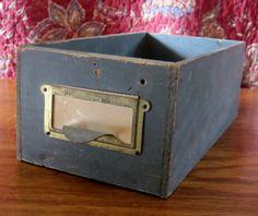 Vintage Old Wood Drawer Filing Box Brass by ElizabethJaneCottage