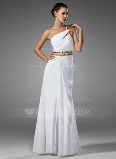 Corte A/Princesa Un sólo hombro Vestido Gasa Vestido de baile de promoción con Volantes Abalorios (018002453)