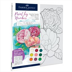 "Floral Number Painting – Paint vibrant flowers with watercolor paint on real artist canvas! Creating art that you will love to display is easy with the included separate paint by number guide. WATERCOLOR PAINT BY NUMBER - This adult craft kit comes with 9 custom colors of vibrant watercolor paint, 12""x12"" pre-printed stretched gallery canvas, a fine point paintbrush and a separate paint number guide Watercolor Projects, Watercolor Canvas, Watercolour Painting, Floral Watercolor, Watercolors, Art Sets For Kids, Artist Materials, Painting Activities, Faber Castell"