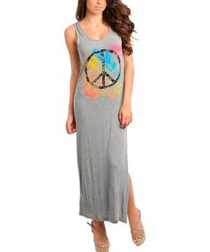 Loving this Gray Peace Maxi Dress on #zulily! #zulilyfinds
