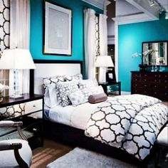 Teal, black, and white. This is what I want my new room to look like! Dream Rooms, Dream Bedroom, White Bedroom, White Bedding, Woman Bedroom, Home And Deco, My New Room, Beautiful Bedrooms, My Dream Home