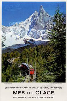 Chamonix Mont Blanc - Mer de Glace - Le chemin de fer du Montenvers - Affiche originale (ca 1975)