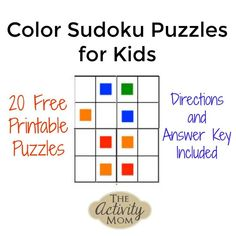 Free, printable Color Sudoku Puzzles to stretch critical thinking and problem solving skills. Manipulate blocks to solve Directions and Answers included. Printable Games For Kids, Fun Math Games, Printable Activities For Kids, Kids Learning Activities, Fun Learning, Free Printables, Early Learning, Sudoku Puzzles, Puzzles For Kids