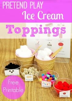 Pretend play ice cream toppings activity from Pre-K Pages. use tweezers or tongs to work on fine motor, spoons to practice life skills!