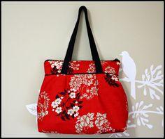 Zipper Closure / Pleated Red Handbag / Japanese by SweetPeaTotes, $42.00