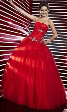 Ball Gown Sequin Embellished A Line Strapless Long Red Dresses Prom