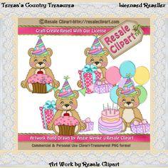 Little Girl Birthday Bears Clipart