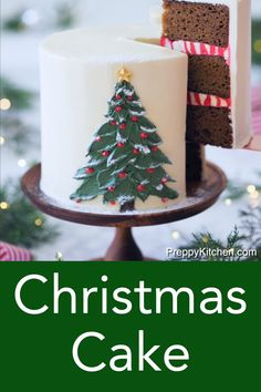 This moist and richly spiced gingerbread Christmas cake from Preppy Kitchen is filled with and covered in silky Italian buttercream, faced with a beautiful buttercream Christmas tree. A must-make for the upcoming holiday season! #christmascake #christmasgingerbreadcake #gingerbreadcake