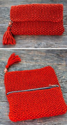 Free Knitting Pattern for 1 Row Repeat Tassel Clutch - The Knitted Purse with . Free Knitting Pattern for 1 Row Repeat Tassel Clutch - The knitted purse with pearls and tassel has a repeat pattern. Finished size: 21 cm x 13 . Loom Knitting, Knitting Patterns Free, Knit Patterns, Free Knitting, Crochet Pouch, Crochet Stitches, Free Crochet, Crochet Handbags, Crochet Purses