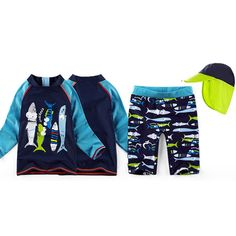 5d1c8dac02 2017 child swimwear bathing suit 3 pieces swimsuit long sleeve shark  pattern boys kids swimsuits sun protection hat beach suit-in Children's Two-Piece  Suits ...