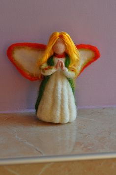 Needle Felted Wool Holly Berry Fairy-soft sculpture-Waldorf inspired standing doll by daria.lvovsky, via Flickr  Fieltro con aguja / Needle felt