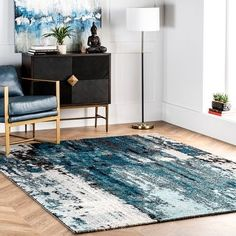 Area Rug Sizes, Blue Area Rugs, Blue Abstract Painting, Machine Made Rugs, Rugs Usa, Buy Rugs, Modern Area Rugs, Contemporary Rugs, Indoor Rugs