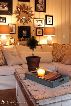 SO cozy looking #home #decor I like this one for the front room. I think book cases on front room with piano with the goldish yellow and then fireplace room the stuff you sent me with the dove grey...