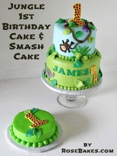 Jungle Birthday Cake & Smash Cake - First Birthday - Jungle Safari Cake, Jungle Birthday Cakes, Jungle Theme Cakes, Smash Cake First Birthday, Safari Cakes, Jungle Party, Safari Party, Safari Theme, Cake Roses