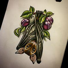"""ถูกใจ 345 คน, ความคิดเห็น 5 รายการ - Ma Reeni (@ma_reeni) บน Instagram: """"❤️ @viktoria_mckee #bat #tattoosketch #sketch #plum #animals #pechschwarz @pechschwarztattoo"""""""