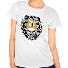 apa 9 ball gothic design tee shirt
