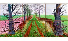 In David Hockney returned to his native Yorkshire and undertook a series of landscape paintings. 'A closer winter tunnel, February-March' 2006 was the first of his multiple canvas paintings. This 6 part painting was painted not in the studio . David Hockney Landscapes, David Hockney Paintings, Landscape Art, Landscape Paintings, Tree Paintings, Amazing Paintings, David Hockney Ipad, David Hockney Art, Edward Hopper