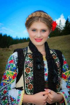A traditional costume from the northeastern region of Romania, Bucovina - situated between the Carpathian Mountains and the Prut River. Bucovina is situated in the northern part of the region of Moldova, bordering with Ukraine Eslava, Beautiful People, Beautiful Women, Costumes Around The World, Beauty Around The World, Ethnic Dress, Folk Costume, Folklore, World Cultures
