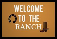 Welcome to the ranch  } Wall Art sign Plaque Home decor rustic Wood Retro Sign