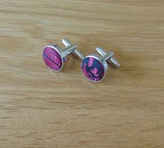 Paisley Silver Plates Cufflinks Burgungy
