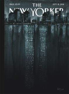 "Poetic & impact at the same time, a rare combo on a cover. This weeks cover The New Yorker. Silence here, love this Read also here the story by editor David Remnick. Illustration ""Reflections"" by Ana Juan (Twin Towers, The New Yorker, New Yorker Covers, Portfolio Illustration, Illustrations, Magazine Illustration, Capas New Yorker, Magazine Ideas, Magazine Layouts, Magazin Design"